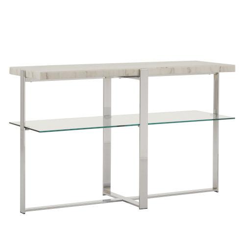 Diana Chrome Marble Top Framed Sofa Table